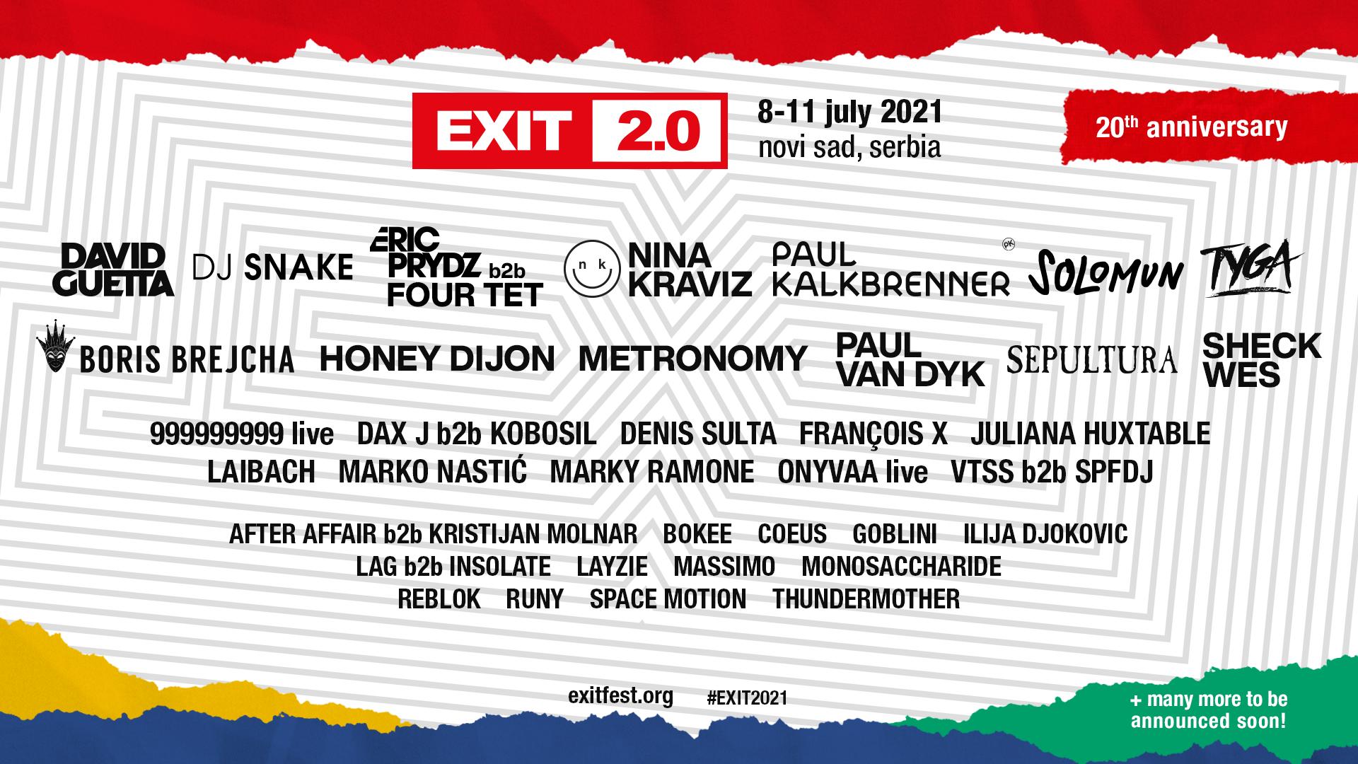 Sheck Wes, Paul Kalkbrenner, Nina Kraviz, Honey Dijon и Solomun се присъединяват към 20-тата годишнина на фестивала EXIT